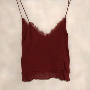 Burnt red silky tank